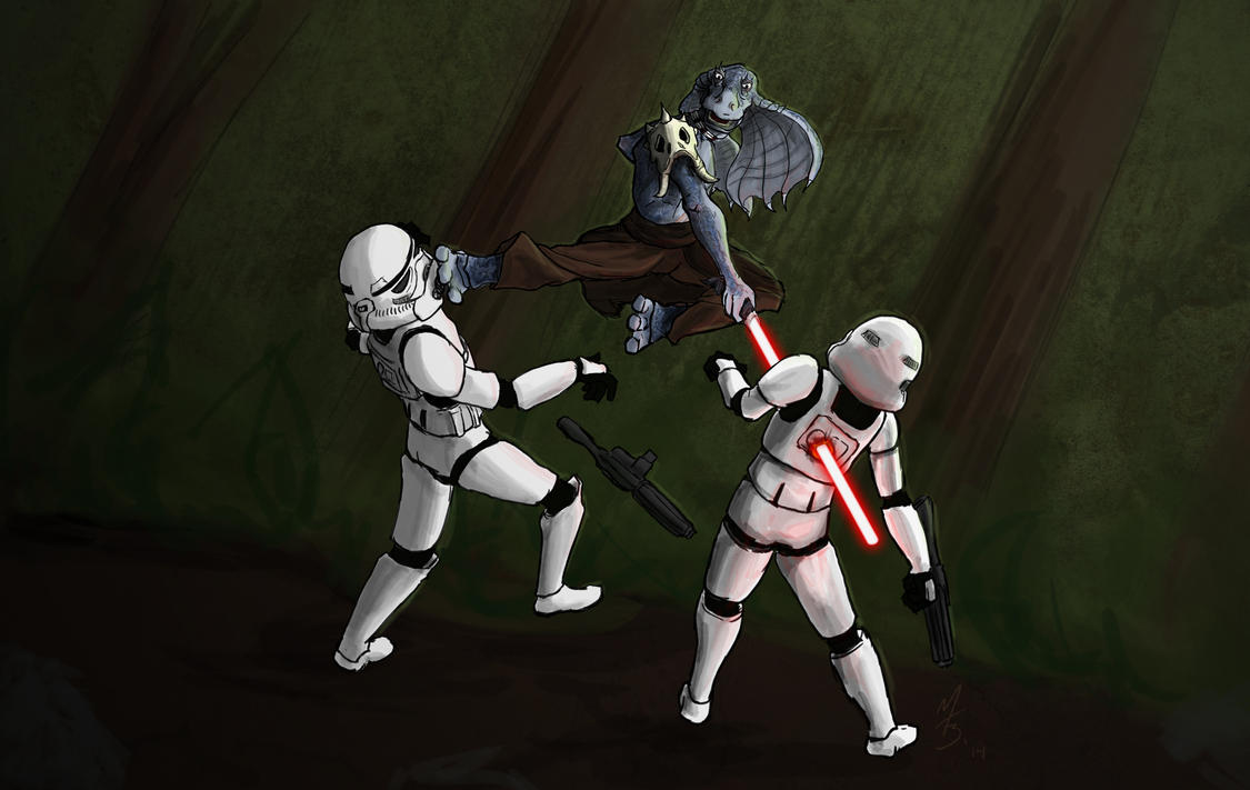 Kah Manet Fights Stormtroopers - Commission by borkweb