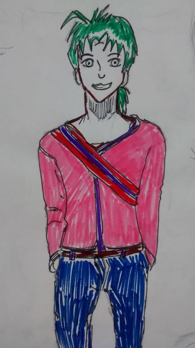 green hair boy by mikagami7tokiya