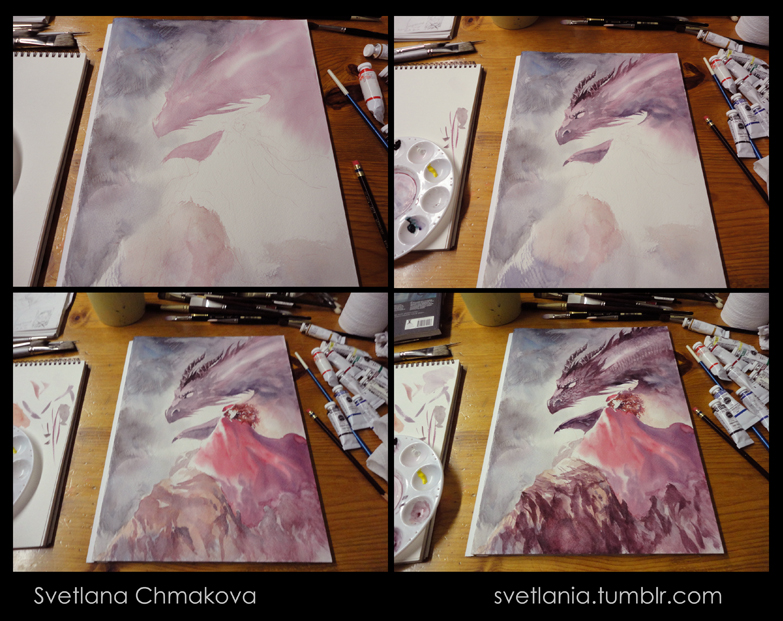 Dragon Painting process by svetlania