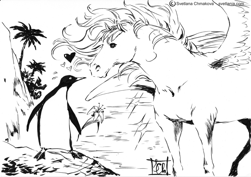 Sketchblog002 Pegasus Penguin Love by svetlania