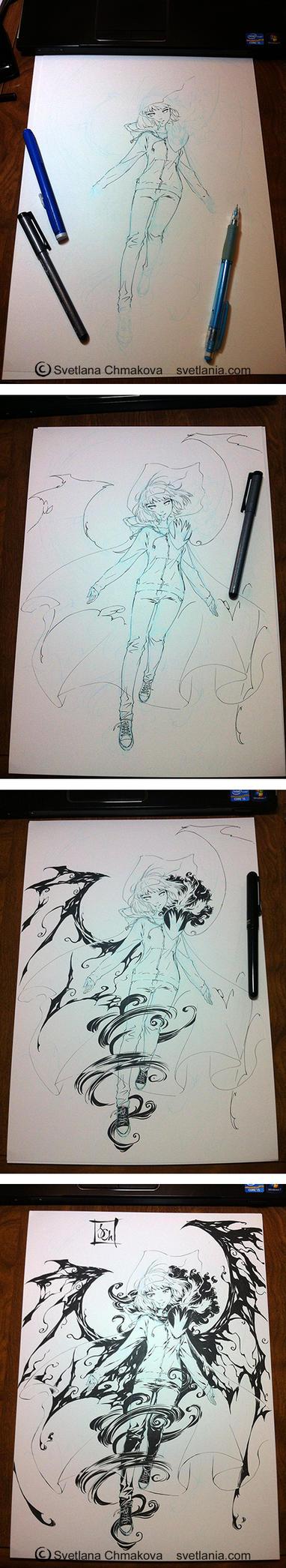 Inking Process for Nightschool print by svetlania
