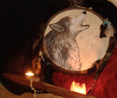 Native American flute and drum by Okarnillart
