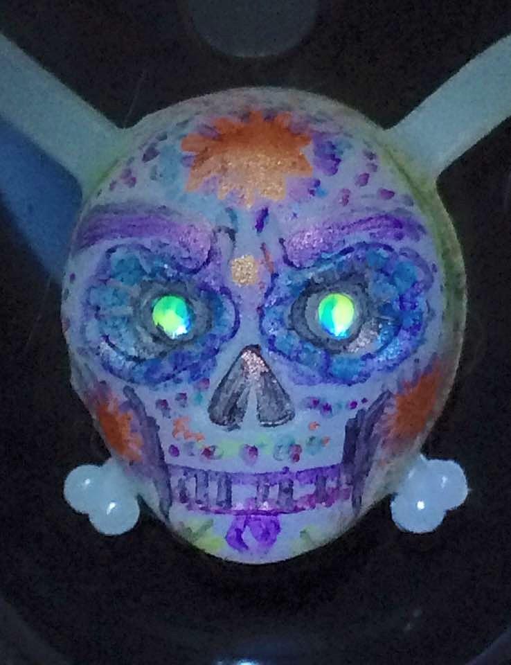 Sugar Skull bike light by Okarnillart