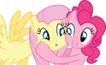 Pinkie Pie and Fluttershy -  Cheek hug