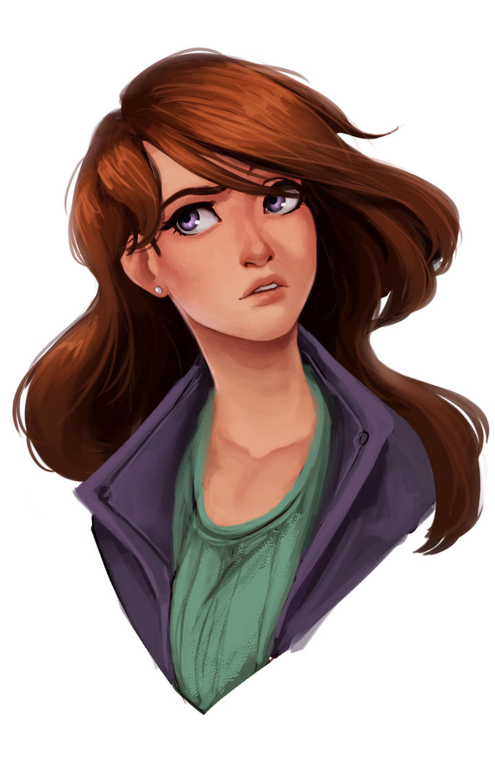 This is a picture of Striking Brown Haired Girl Drawing
