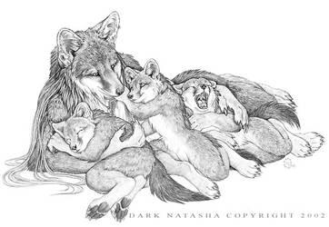 Mother fox and Kits by darknatasha