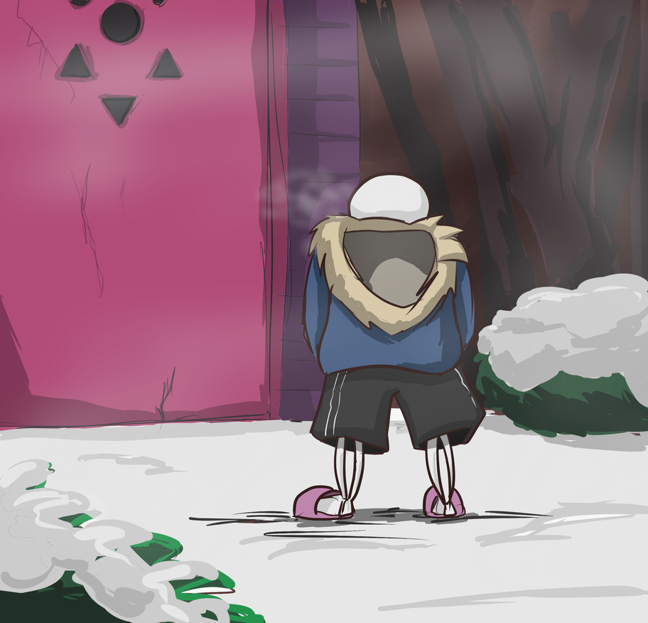 Sans at the Door by LeleYume