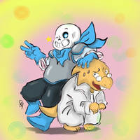 Blueberry and Alphys by LeleYume