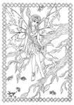 Spring fairy line-art