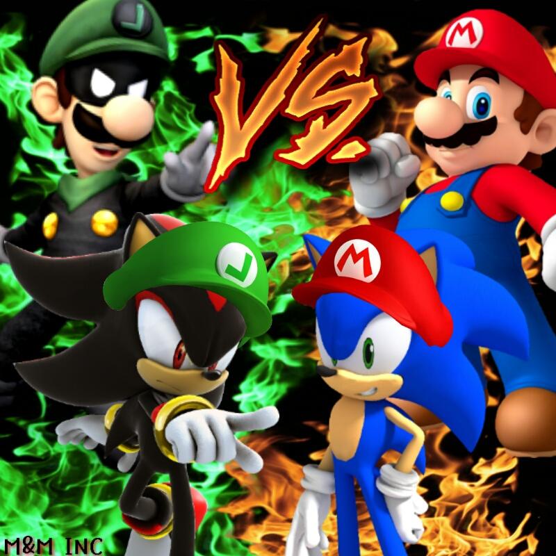 Luigi And Sonic Luigi and Shadow VS Mario and