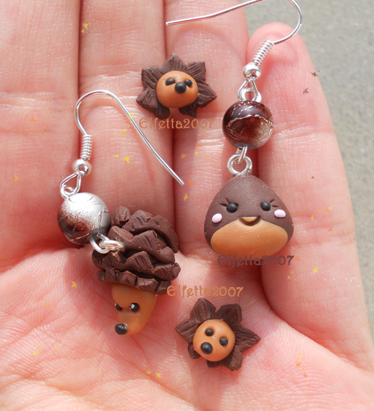 Hedgehogs and little chestnut for a very autumn by Elfetta2007