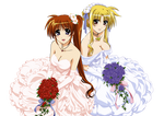 Fate and Nanoha in wedding dresses
