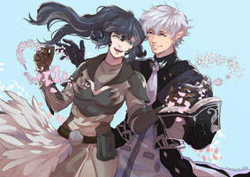 Sketchie CM - Yura et Alphinaud by Squaffle