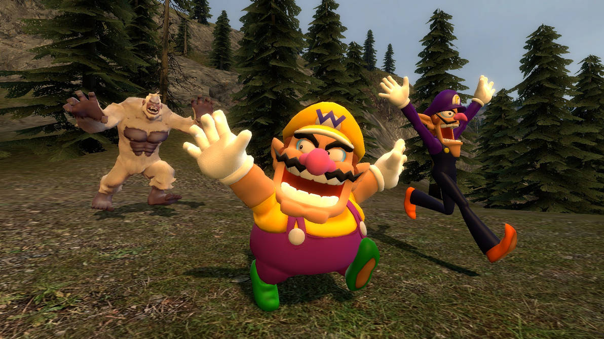 Yeti chasing Wario and Waluigi by Primon4723 on DeviantArt