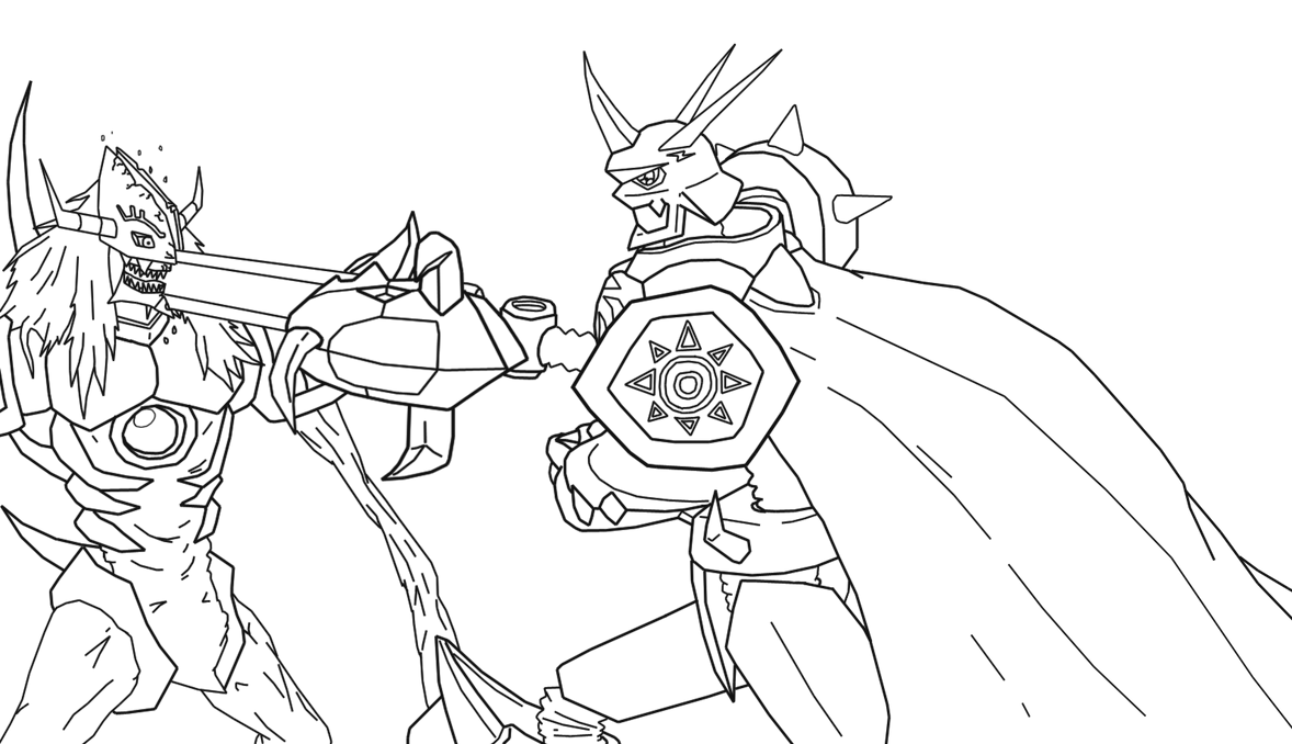 Digimon Lineart by Omnimon1996 on DeviantArt