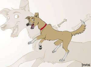 Hmm, a dog fetching bone