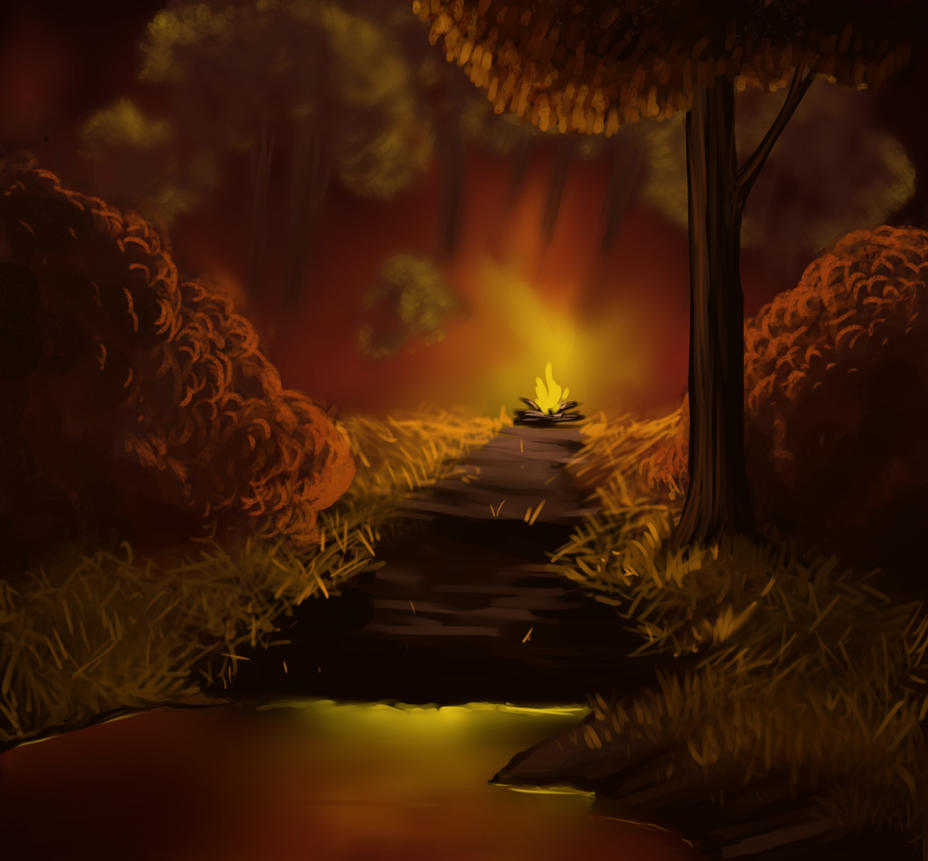 Campfire with Bob Ross by FruitConflate