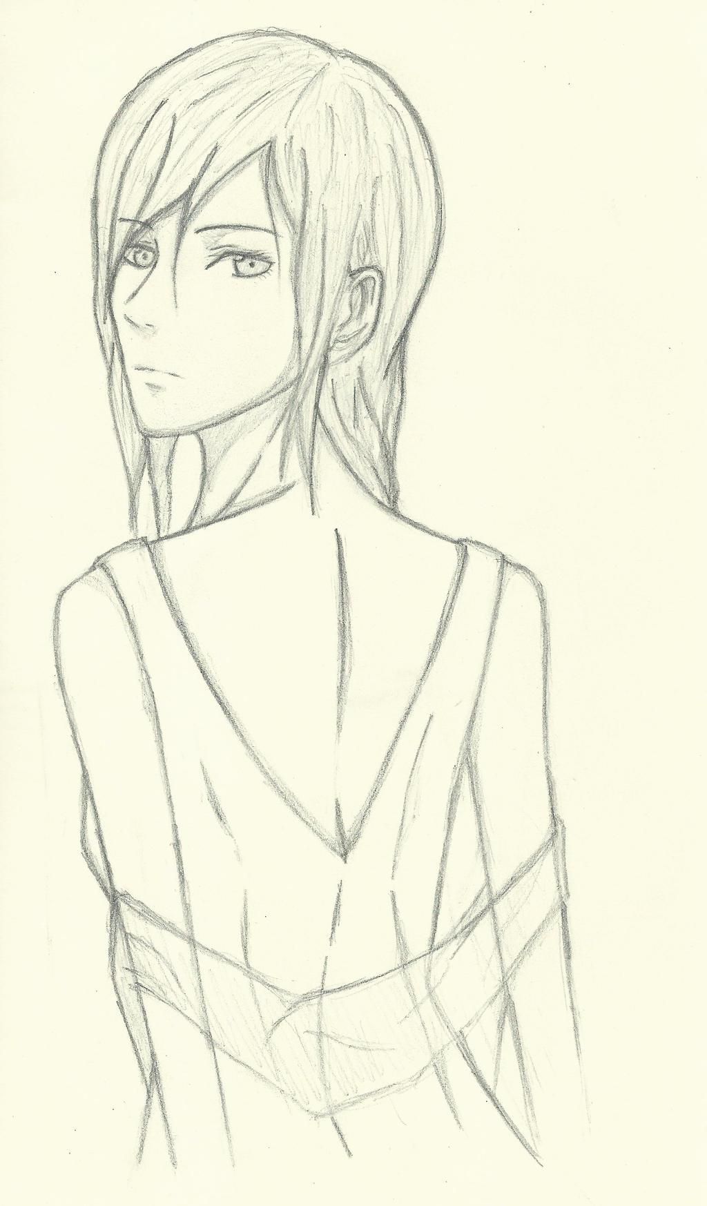 Glamorous Manga Girl Looking Over Shoulder By Musicfreak8800