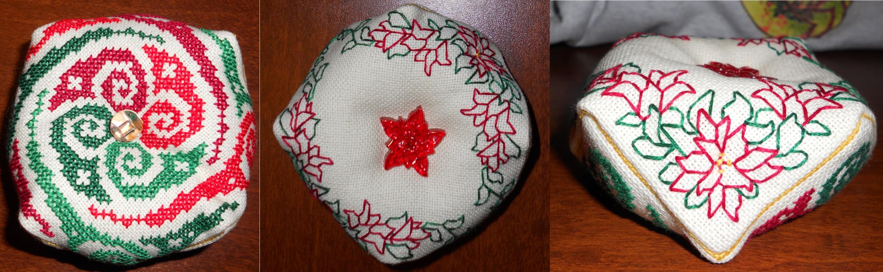 Biscornu Red + Green by Joce-in-Stitches