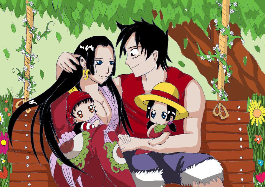 Luffy and hancock with babys by xcelestialangelx on deviantart - One piece luffy x hancock ...