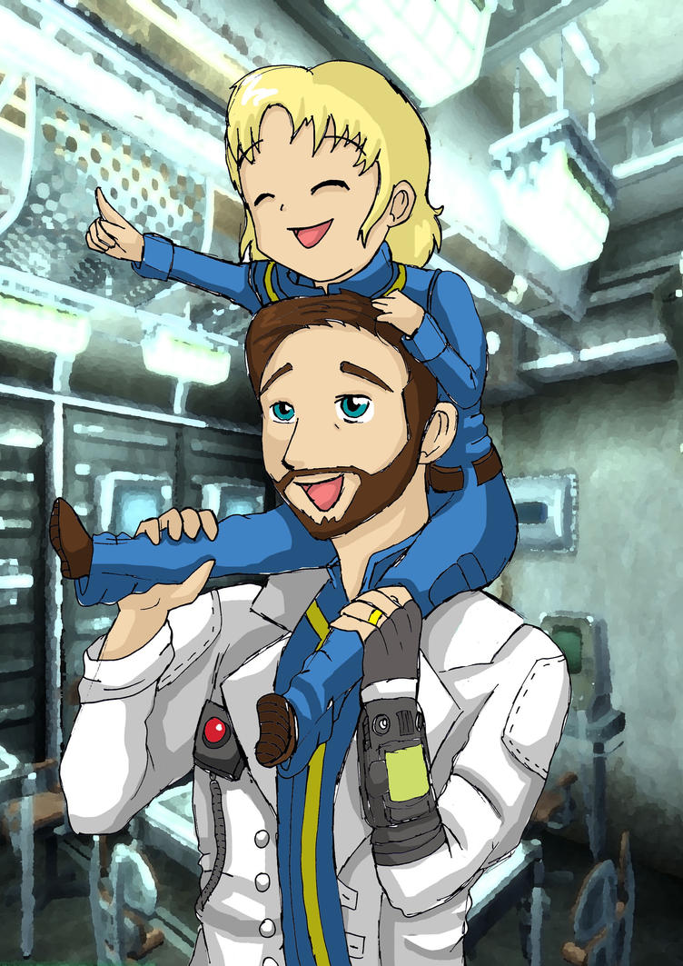 Fallout 4 Anime Characters : Fallout father and daughter piggyback by