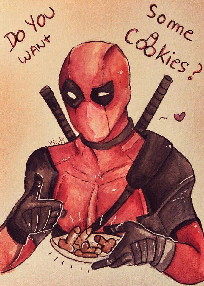 Deadpool cookies ! by saeru-bleuts