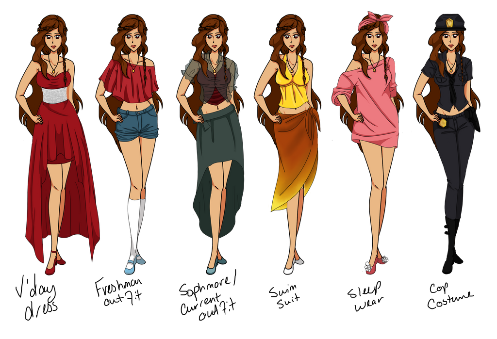 MA - Rhea Outfits (from Paper Doll) by Fireflowermaiden