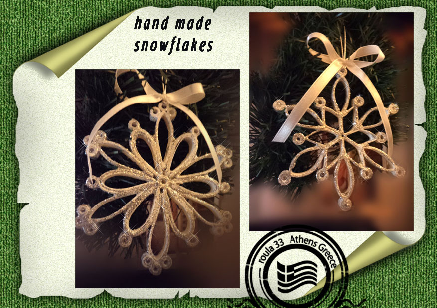 handmade   paper snowflakes and glitter by roula33