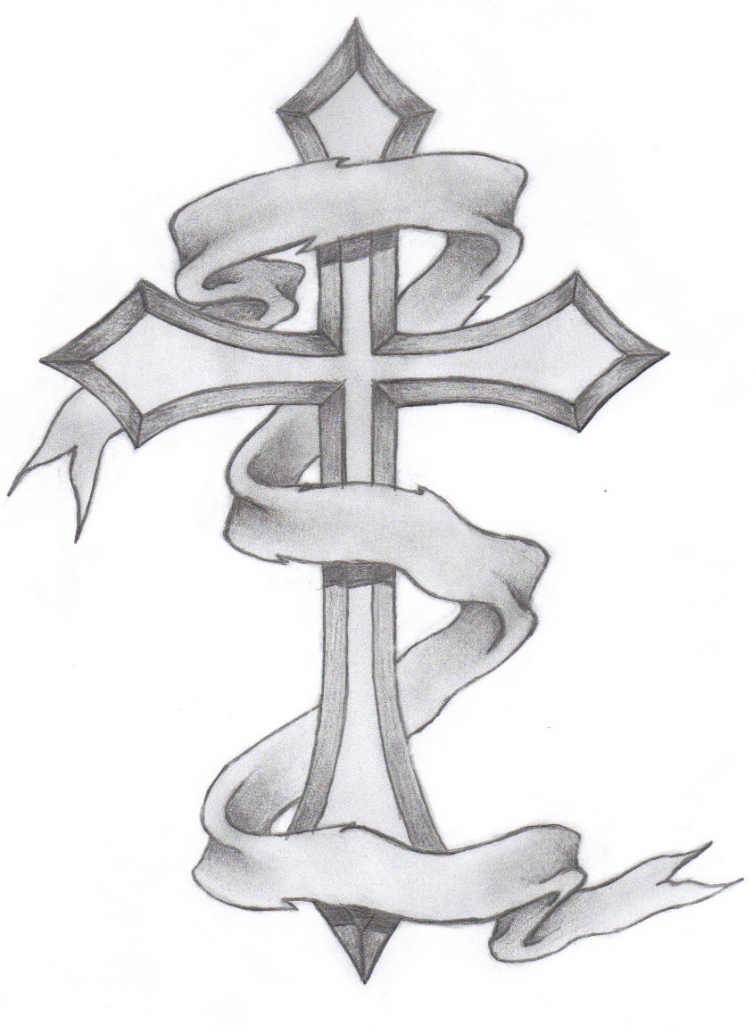 Cross Tattoos with Banners Drawing