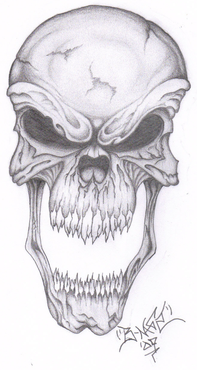 Draw Evil Skull Drawing Flames How To Tattoo