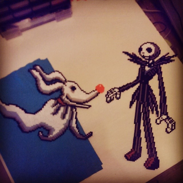 nightmare before christmas zero and jack - perler by ...