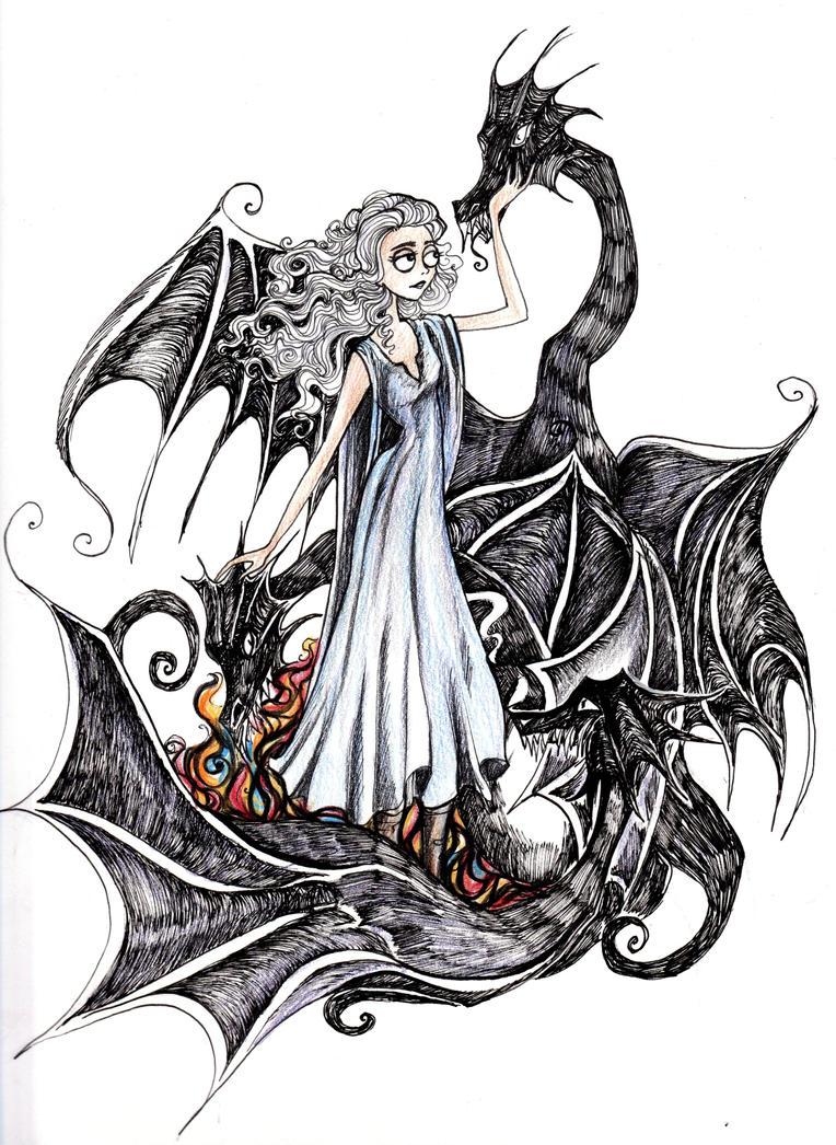 Tim Burtonned Daenerys by La-Chapeliere-Folle