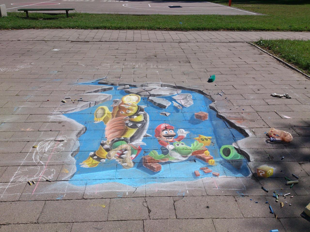 Super mario chalk art 3D (Mario winns)