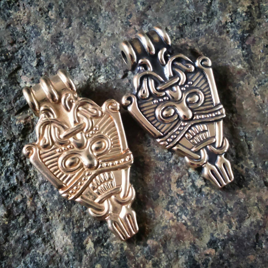 Viking Face Pendants in Bronze  by MatthiasBlack