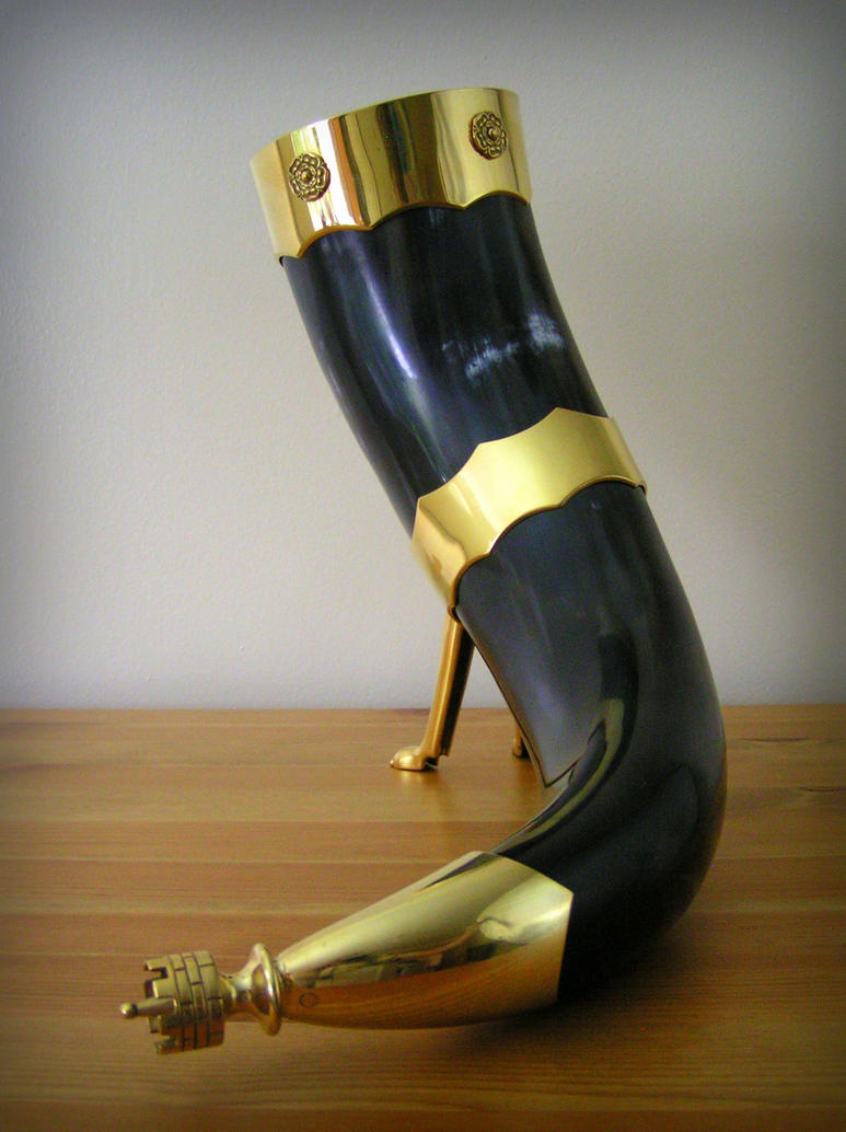 Medieval drinking horn with gilt bronze mounts 1 by MatthiasBlack