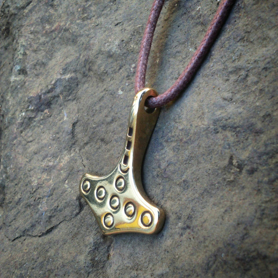 Norse Mjolnir Pendant Amulet in Bronze  by MatthiasBlack