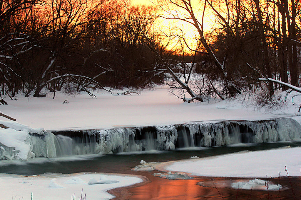 Icy Falls at Dusk. by sweatangel