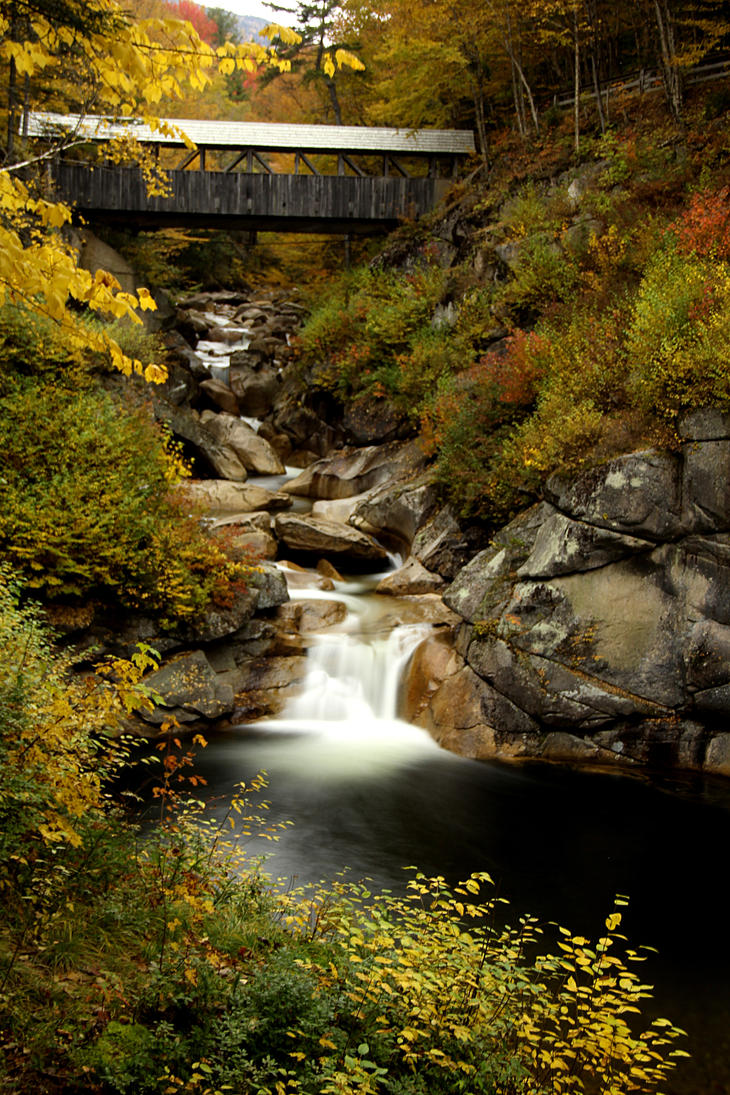 Covered Bridge above in Fall. by sweatangel