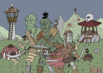 Orcs in their village by pfendino