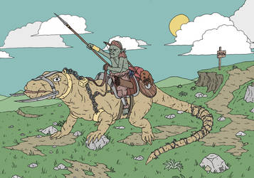 Orc on Giant Lizard by pfendino