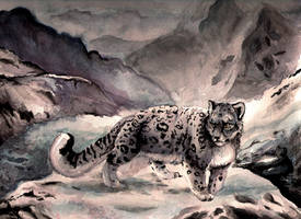 snowleopard in watercolor
