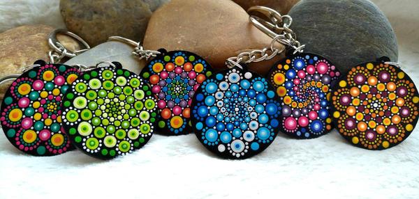 Rainbow mandala keychains by lPrimrose