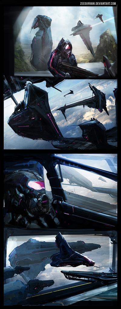 Space Hangar Speed Paint Thumbnails x4 by zeedurrani
