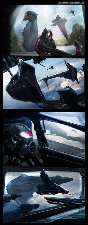 Space Hangar Speed Paint Thumbnails x4