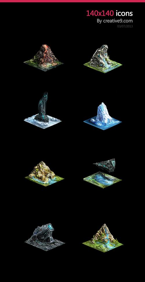 Isometric Game Icons Tiles by zeedurrani