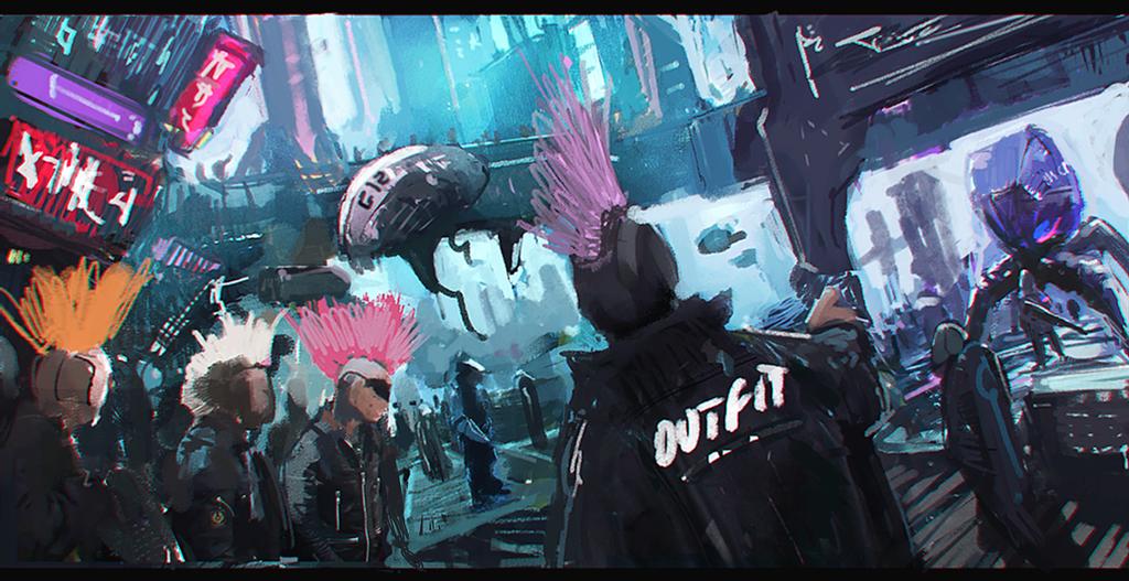 Cyberpunk Environment - Sketch WIP by zeedurrani