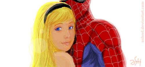 Gwen Stacy and her hero by ashrel
