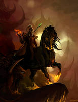 warlock and felsteed by sandara