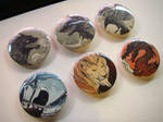 Ink and watercolor badges