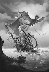 Temeraire and gang VS kraken by sandara